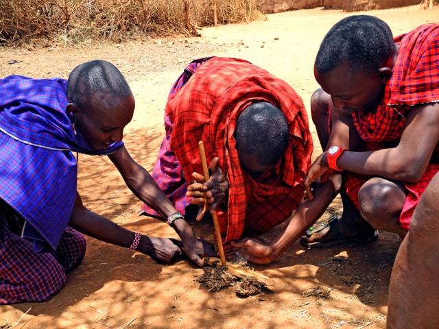 Maasai making Fire