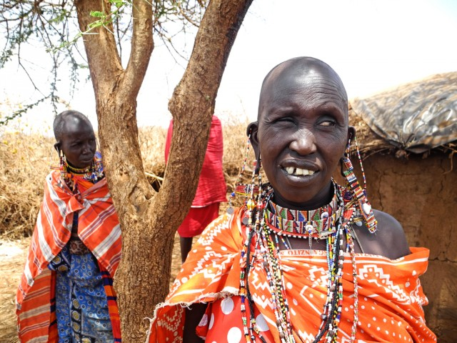 Maasai women with their traditional jewelry
